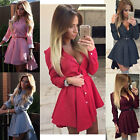 New Women Long Sleeve Loose Casual Tops Blouse T Shirt Short Mini Dress Tool