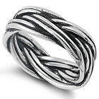 Design 925 Sterling Silver Intertwined Woven Vines Plain Band Ring Size 9,12,13