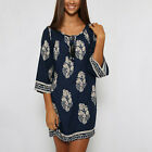 Summer Women Leaf Printed 3/4 Flare Sleeve Midi Top Casual Loose Holiday Dress