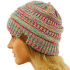 CC Quad Color Warm Chunky Thick Stretchy Knit Slouchy Beanie Skull Cap Hat