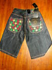 NWT VICORIOUS DENIM JEAN SHORTS sz 32 with 47 marijuana leaf embroideries