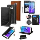 Card Slot Wallet Leather Stand Case Cover+Film+Pen For Samsung Galaxy Note 5