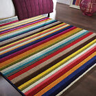 Colourful Rainbow Striped Carpet Rug in Rich Vibrant Multi Colours – Soft Pile