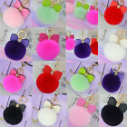 Fluffy Rex Rabbit Fur Ball Bow Pompom Handbag Car Pendant Key Chain Key Ring New