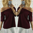 Womens Bandage Off The Shoulder Blouse T-shirt Ladies Short Sleeve Casual Tops