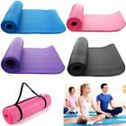 Extra Thick Non slip 15mm Yoga Mat Pad Cushion Exercise Fitness Pilates w Strap