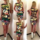Fashion Women's Cute  MILITARY Meisai Mickey Mouse Printed Party Dress Bodycon