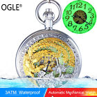 OGLE Waterproof Luminous Gold Phoenix Men Lady Automatic Mechanical Pocket Watch
