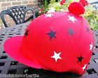 Riding Hat Silk Skull cap Cover RED * WHITE  & BLACK STARS With OR w/o Pompom
