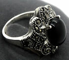 New Women's Marcasite 925 Sterling Silver Black Agate Stone Ring Size #7-10