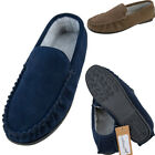 Lambland Mens Sheepskin Suede and Berber Fleece Lined Moccasin Slippers