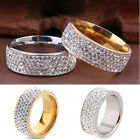 Unisex Cz Stainless Steel Ring Men/women's Wedding Band Rings Gold Silver Sz8-10