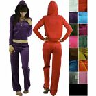 FashionCatch Women's Velour Set with Hooded Sweatshirt and Drawstring Pants