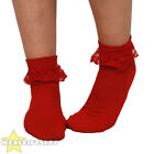 WOMENS RED 50'S FRILL SOCKS 1950'S BOBBIE SOCKS ADULTS FANCY DRESS ACCESSORY