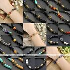 Unisex Lava Rock Gemstone Beads Skull Hamsa Hand Buddha Bangle Bracelet Cool