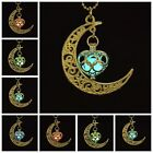 Fashion Glow In The Dark Luminous Moon Heart Charm Pendant Necklace Jewelry Gift