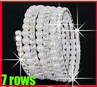 Fashion 3-7Rows White Faux simulated pearl Rhinestone Stretch Women Bracelets