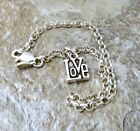 Sterling Silver Mini LOVE Charm on  Sterling Silver  Rolo Bracelet - 0829