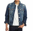 NEW TRUE RELIGION MEN'S PREMIUM DENIM JEAN JACKET DISTRESSED JIMMY SUPER T
