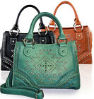 Montana West® Studded Southwestern Messenger Tote w/ Strap- 3 Color Choices