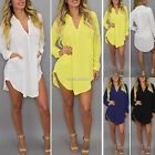 Sexy Women Chiffon Button Down Oversize V-Neck Mini Shirt Dress Long Blouse Tops