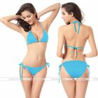 Women Bikini Swimsuit Bathing Push-up Padded  Halter Bandage Swimwear Bra Blue