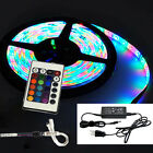 5M LED Strip Lights RGB Colour-Changing with Remote and 12V Power Cable SMD 3528