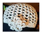 Cotton Hand Crochet Flower Motif Mesh Flapper Cloche Hat New Handmade Beanie