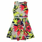 Girls Skater Dress Kids Neon Tropical Print Summer Party Dresses Age 7-13 Years