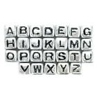 Silver Cubic Acrylic Alphabet Beads for Bracelets and Paracord 6mm