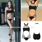Woman Black One Piece Bikini Hollow Monokini Backless Swimsuit Push-up Swimwear