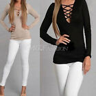 Sexy Women Blouse V Neck Slim Bandage Lace Up T-Shirt Long Sleeve Casual Tops