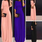 Plus Size New Elegant Women Solid Chiffon Long Cocktail Gown Party Evening Dress