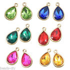 6PCs BD Gold Plated Teardrop-Shaped Pendant Necklace Jewelry 20x12mm