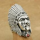 925 Sterling Silver Indian Chief CZ Necklace Mens Biker Rocker Punk Ring 9T007A