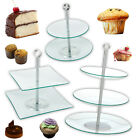 Glass Cake Stand Cupcake Table Party Afternoon Tea Round Square Birthday Wedding