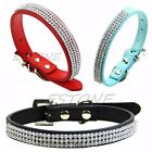 Bling Rhinestone PU Leather Crystal Diamond Puppy Collar Pet Dog Cat Collar XS-L