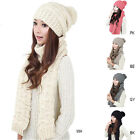 Women's Fashion Warm Woolen Knit Hood Scarf Shawl Caps Hats Suit 1Set/2pcs