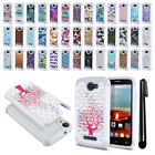 For Alcatel One Touch Fierce 2 7040T A564C Studded Bling HYBRID Case Cover + Pen
