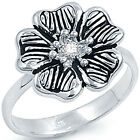 Sterling Silver Oxidized Clear CZ Romantic Cocktail Love Flower Ring Size 3-11