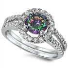 Sterling Silver Magic Rainbow Topaz Clear CZ Engagement Wedding Ring Size 3-11