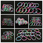 10pcs Hot Sale Mixed Color Letter Pattern Printed Silicone Wristbands Bracelet C