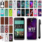 For HTC Desire 520 Various Design TPU SILICONE Soft Protective Case Cover + Pen