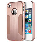 Brushed Aluminum Chrome Coating Hard Case Cover with PC Bumper for iPhone 4S/4