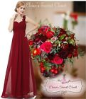 ELODIE Cranberry Red Corsage Chiffon Maxi Prom Evening Bridesmaid Dress UK 8 -20
