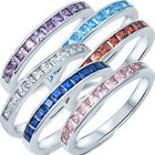 925 Sterling Silver Stackable Princess Cut CZ Side Band Guard Ring Size 3-12 NEW