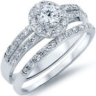 Sterling Silver Round Clear CZ Engagement Wedding 2 in 1 Band Ring Set Size 3-11