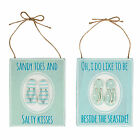 SEASIDE FLIP-FLOPS PLAQUE SANDY TOES BESIDE SEASIDE BLUE GREEN BEACH NAUTICAL