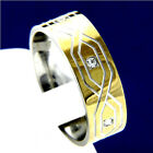 New Gold Tone Stainless Steel Mans Engagement Wedding Band CZ Ring