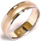 Mens White Yellow Gold Two Tone Sandblast Wedding Band